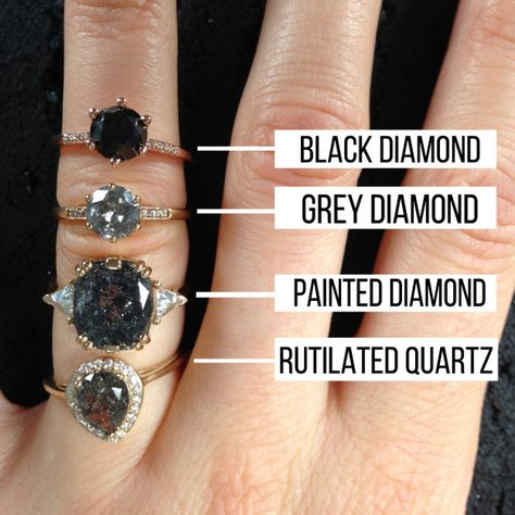 If you want the grey diamond look for less, go for rutilated quartz. If you want the grey diamond look for less, go for rutilated quartz. Buying An Engagement Ring, Shop Engagement Rings, Quartz Engagement Ring, Raw Stone Engagement Rings, Different Engagement Rings, Halo Engagement, Black Diamond Engagement, Black Diamond Rings, Solitaire Diamond