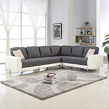 Modern 2 Tone Linen Fabric Sectional Sofa Large L Shape Couch Dark Grey White Sectional Sofa Fabric Sectional Sofas Sectional