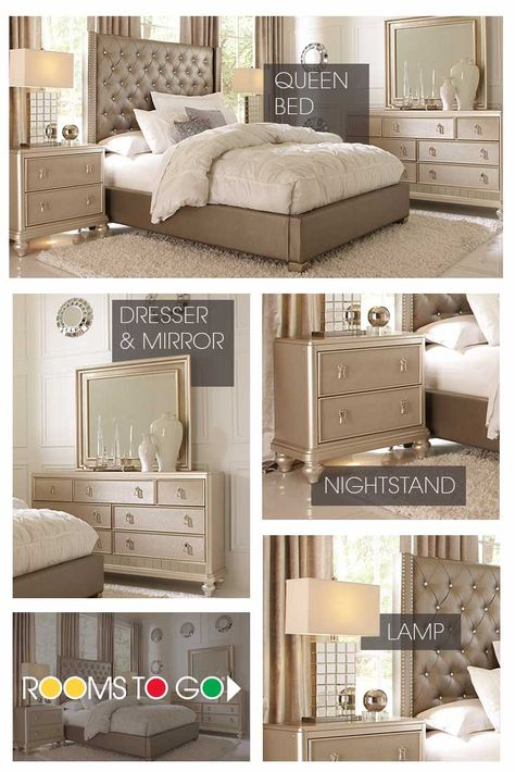 You're looking at your future bedroom! With a beautiful tufted upholstered headboard, stylistic accent furniture, and perfect finishing touches, the Paris Bedroom is a sure eye-catcher! Find more bedrooms like this one at a Rooms To Go store near you, or shop online at roomstogo.com.