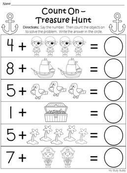 Counting On Addition Kindergarten Math 1st Grade Math Addition Worksheets Kindergarten Addition Worksheets 1st Grade Math
