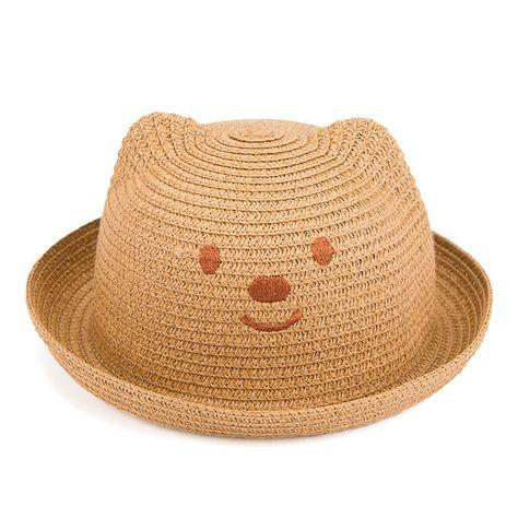 87f0e33086c Click to Buy    2017 Children Summer Beach straw sun hats Solid kids ear decoration  Floppy beach hats Boys Girls Lovely sun caps ZXM-JY-253  Affiliate.