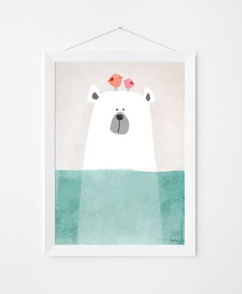 Illustration poster art with cute polar bear to decorate kids and