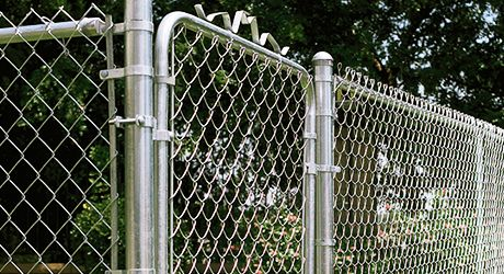 A Finished Chain Link Fence With Gate Chain Link Fence Gate Chain Link Fence Chain Link Fence Installation