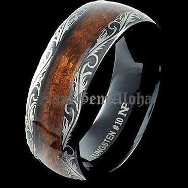 Koa Wood Ring Black Tungsten Hawaiian Scroll Band Comfort Fit Dome Edge 8mm In 2020 Black Rings Custom Wedding Rings Wedding Rings