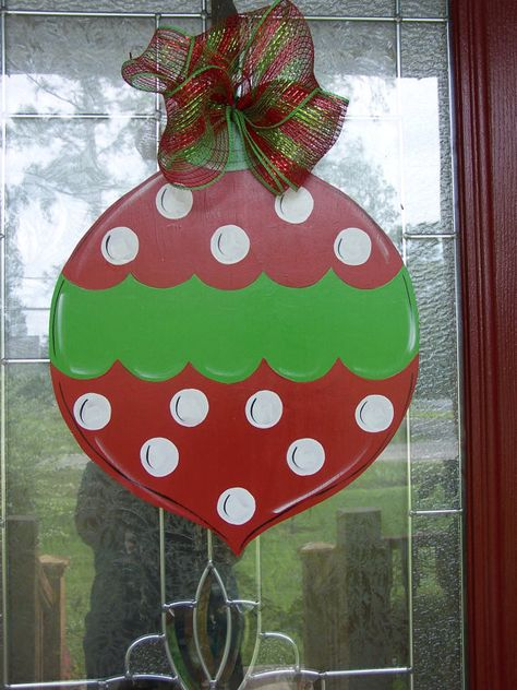 Personalized Christmas Ball Door Hanger by samthecrafter on Etsy