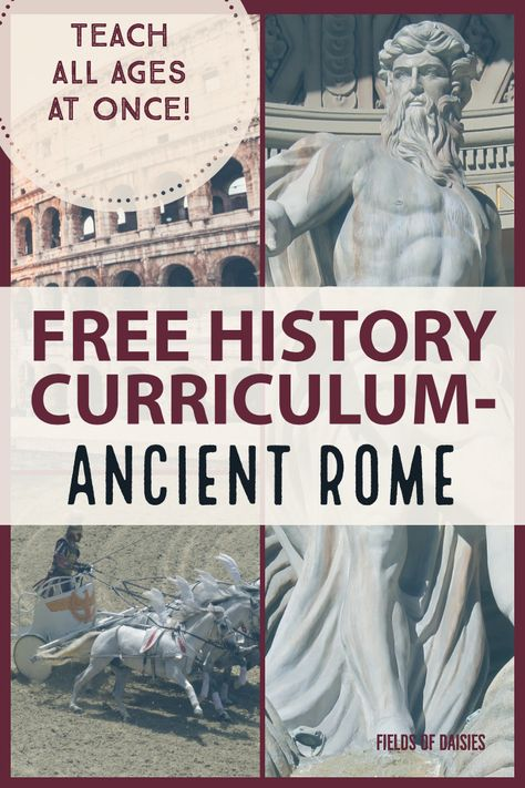FREE Ancient World History Curriculum- Ancient Rome (Part 4 of the series). Daily Plans Living Books Online Resources Hands-On Projects and mostly a super fun way for the whole family to learn history together ! American History Lessons, World History Lessons, History For Kids, British History, European History, World History Projects, Rome History, Ancient World History, Greece History