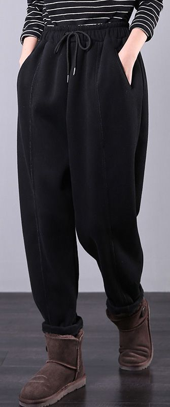 Bohemian Fall Plus Size Black Fabrics Drawstring Pockets Pant Women Pants Casual Black Fabric Stylish Pants
