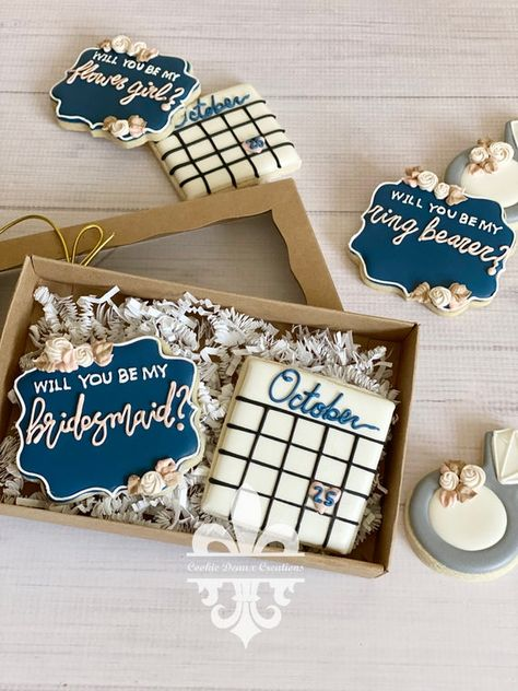 Will You Be My Bridesmaid Flower Girl Maid Of Honor Wedding Calendar Cookie Sets Bridesmaid Cookies, Bridesmaid Gift Boxes, Bridesmaid Proposal Gifts, Bridesmaid Flowers, Bridesmaid Presents, Wedding Gifts For Bridesmaids, Gifts For Wedding Party, Wedding Wishes, Our Wedding