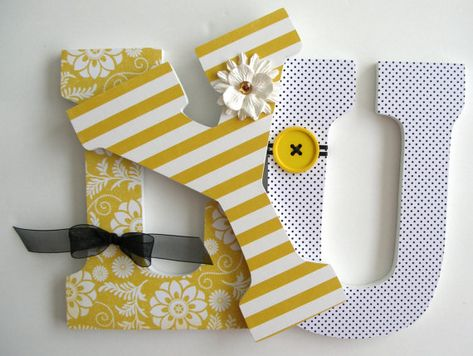 Yellow Black Custom Wooden Letters Personalized Nursery Name