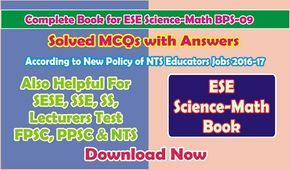 NTS Test Book for ESE Science-Math MCQs with Answer Download