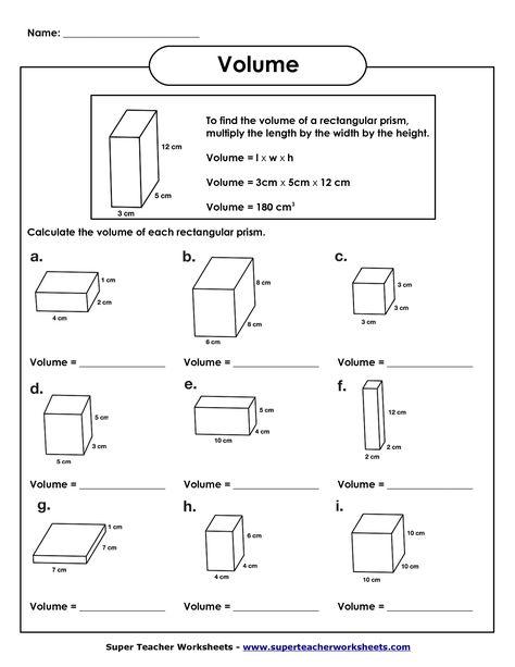 5th Grade Math Volume Worksheets | Kids Study | Volume ...