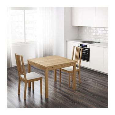 Bjursta Extendable Table Oak Veneer Ikea Dining Table Compact