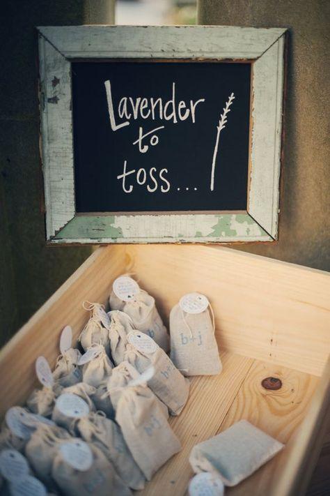 Custom-stamped Lavender Bag for Wedding Toss / http://www.deerpearlflowers.com/wedding-exit-send-off-ideas/