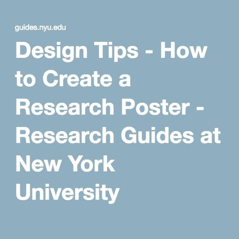 Design Tips - How to Create a Research Poster - Research Guides at - research poster