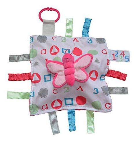 Butterfly Toy Plush Educational Sensory 10x10 Ribbon Tag Sensory Blanket