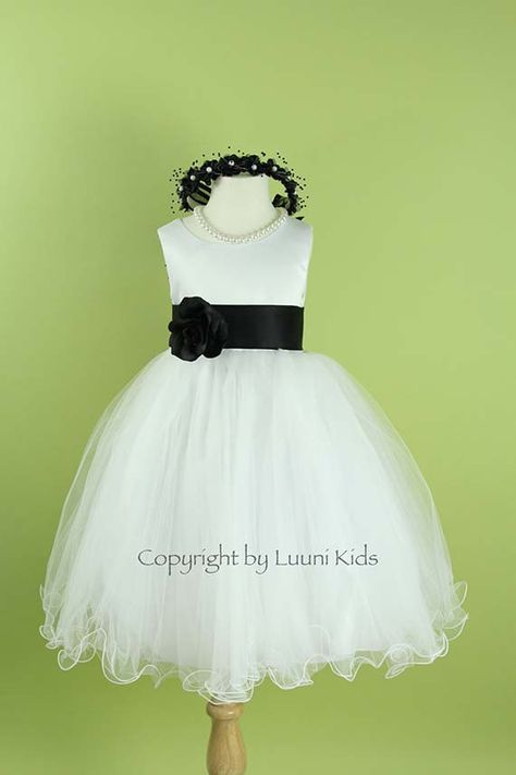 Flower Girl Dress - WHITE Wavy Bottom Dress with BLACK Sash - Bridesmaid, Communion, Easter, Wedding - Toddler, Child, Teen (FLW) on Etsy, $39.00