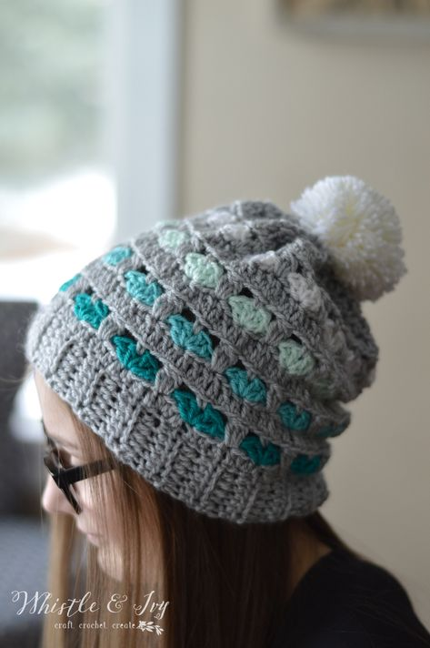 Puppy Love Heart Slouchy - Get the free crochet pattern for this sweet heart-patterned slouchy hat.