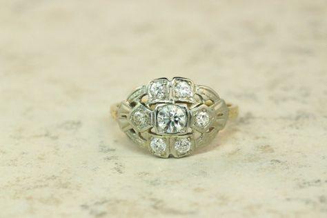 14k Gold Ring Art Deco Diamond Ring 1940s Ring Estate Ring Retro Ring White Gold Ring Size 6.5, $650.00
