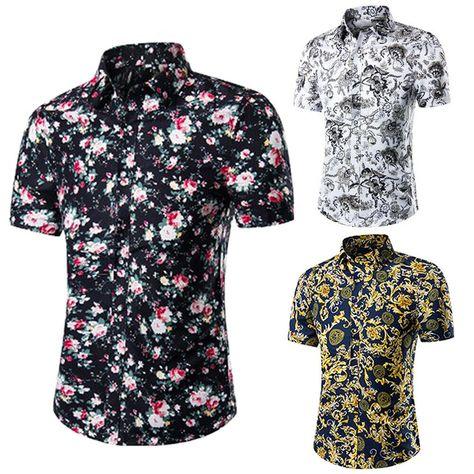 baaffb8c6 Men's Short-Sleeved Shirt Korean Fashion Casual Floral Shirt Summer Beach  Tops #fashion #