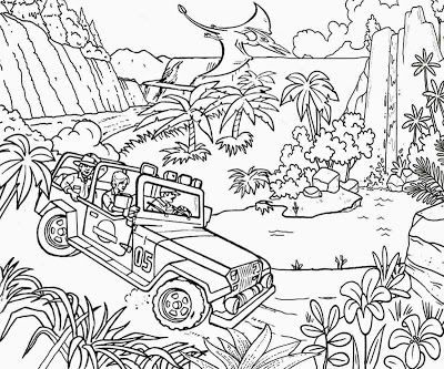 Prehistoric Dinosaur River Track Jungle Jeep Car Fun Coloring Jurassic Park Pintable Pages For Teens Dinosaur Coloring Pages Dinosaur Coloring Coloring Pages