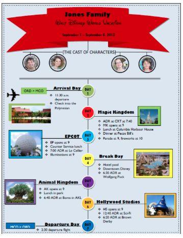 2 custom Disney World itinerary templates Vacation - microsoft itinerary template