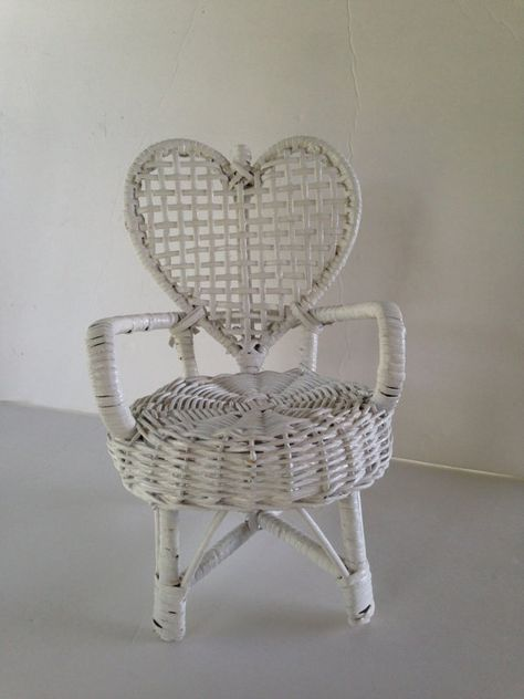 Heart Shaped White Wicker Doll Chair Garden by