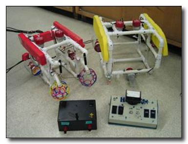 student made ROV examples - notice macgyvered motor shrouds on red