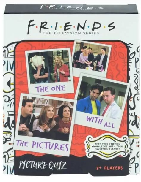 Friends Picture Quiz will test your knowledge, along with your friends and family to see how much you all learnt, and remember about this iconic television comedy series. Gather your friends and family at your next games night or party, bring out Friends Picture Quiz and enjoy the fun as each of you tries to answer the 3 questions on each card about a particular scene. You can choose to answer the bonus question for an extra 2 points, or gamble and get creative by coming up with your caption for