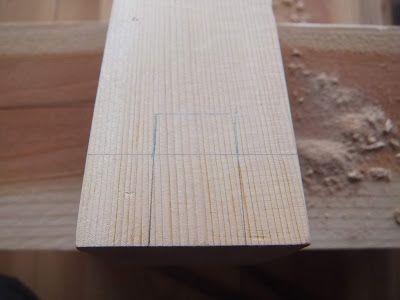 木陰手探りdiy ロフトの落下防止柵に取り付ける枠に配線穴を作成