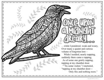 The Raven By Edgar Allan Poe Poetry Coloring Pages Middle School English Language Arts Edgar Allan Poe English Language Arts High School