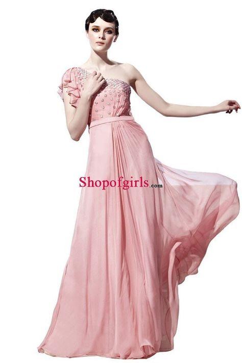 Pink Floor-length Chiffon Prom Dress, Reception Dress