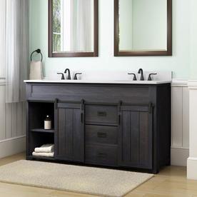 Style Selections Morriston 60 In Distressed Java Double Sink Bathroom Vanity With White Engineered Stone Top Lowes Com Bathroom Vanity Redo Bathroom Sink Remodel Bathroom Sink Vanity