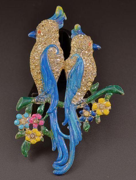 Star Faux Duette Parrot Figural Brooch
