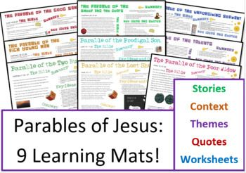 9 Parables Of Jesus Information Sheets And Question Sheets Good Samaritan Parable Parables Parables Of Jesus