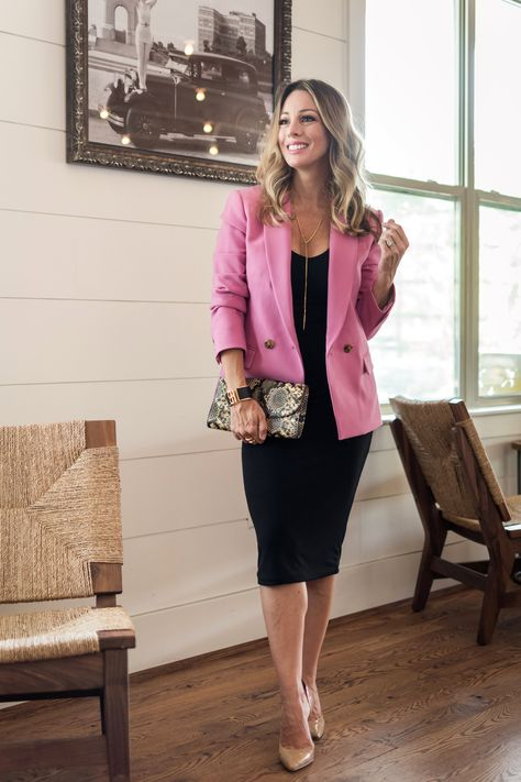 074b05302de7 Cute fall outfit pink blazer and black bodycon dress | Work . Weekend . Wow