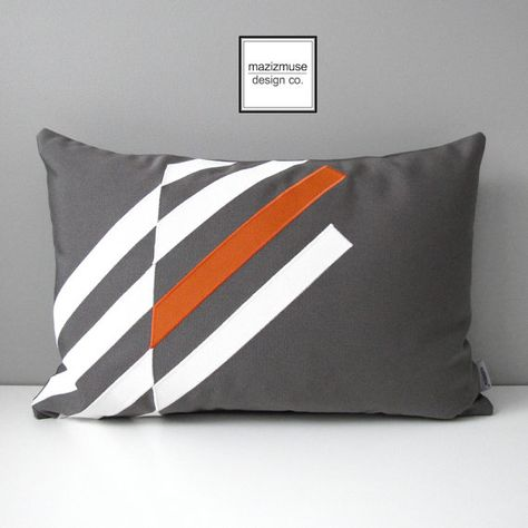 Orange & Grey Outdoor Pillow Cover