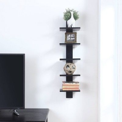 Spine Wall Book Shelves Stylish And Functional Black Proman