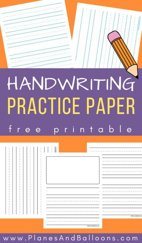 Free printable lined paper for handwriting practice
