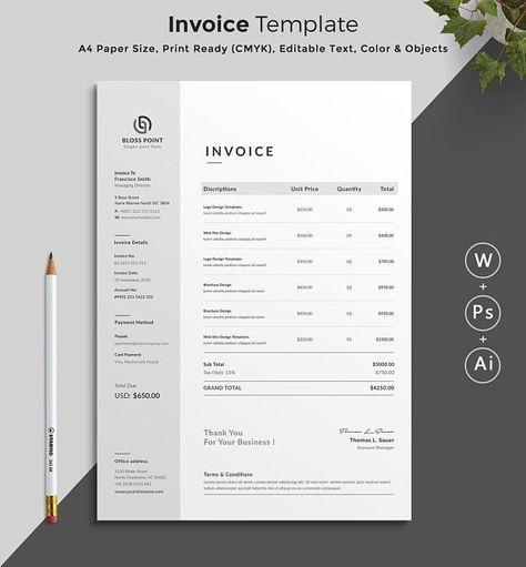 Invoice Template Invoice Design Ms Excel Auto Calculation Etsy In 2021 Invoice Design Invoice Template Photography Invoice