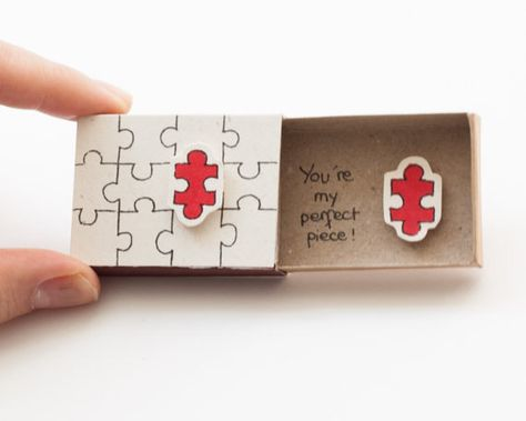 Funny Valentines Day Card - Puzzle - You are my perfect piece This listing is for one matchbox. This is a great alternative to a Anniversary card. Surprise your loved ones with a cute private message hidden in these beautifully decorated matchboxes! Each item is hand made from a real