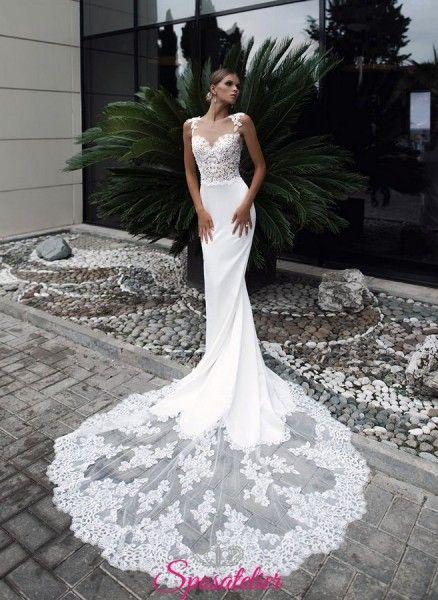 Abiti Da Sposa A Sirena Con Strascico Lungo In Pizzo Tendenze 2018 2019 Abiti Da Sposa A Sirena Abiti Da Sposa Lunghi Abiti Da Sposa