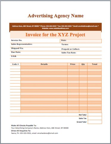 Advertising Invoice Template Advertising Invoice Template