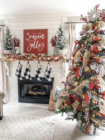 Christmas Music Tours Buffalo 2020 Christmas mantel decor using buffalo check! in 2020   Christmas
