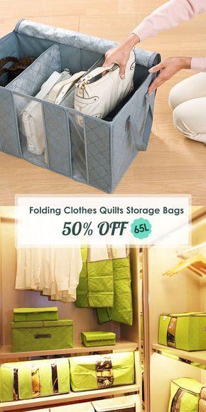 65l Clothes Quilts Storage Bags Folding Transparent Organizer Bags