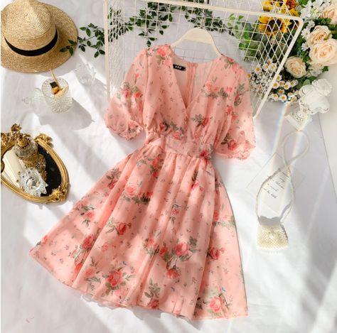 French Floral V Neck Summer Chiffon Dress