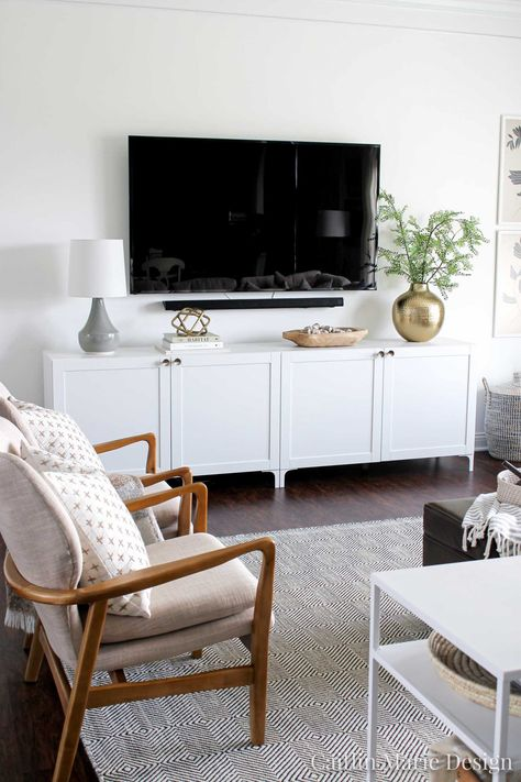 Create a modern media console using the IKEA BESTA system! This project is budget-friendly, and you will love the added storage in this wide media console. Besta Hack, Ikea Hack, Living Room Tv, Home And Living, Ikea Living Room Storage, Living Room Decor Ikea, Ikea Media Console, Tv Console Modern, Affordable Home Decor