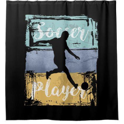 Soccer Tee Vintage Retro Soccer Player Shower Curtain Zazzle