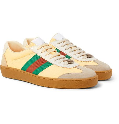 Gucci G74 Leather Sneaker With Web In