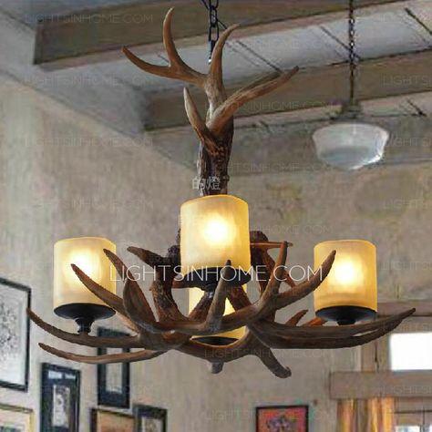 High End 4-Light Glass Shade Deer Antler Chandeliers