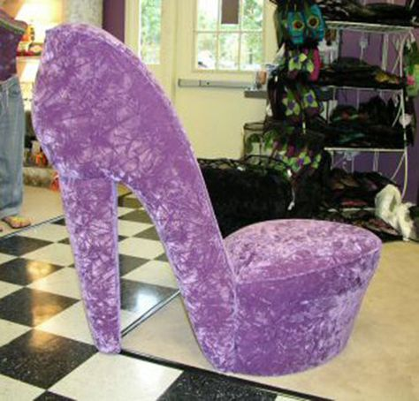 Purple High Heel Shoe Chair - one of several colors/patterns available from HighHeelShoeChairCom on Etsy